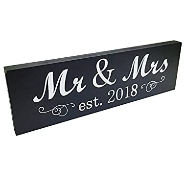 Fenleo Mr & Mrs 2018 Sign Wood Wedding Sweetheart Table Wall Decor Wedding Gifts