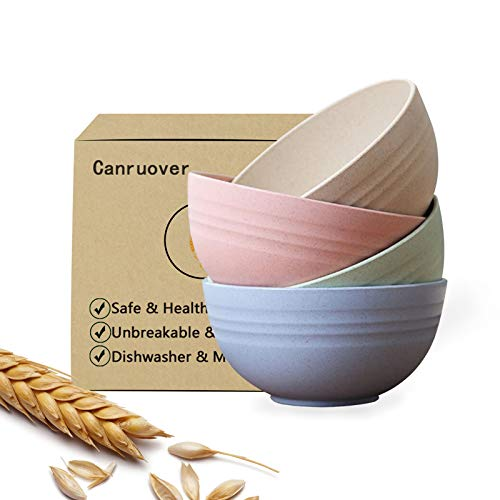 Canruover Unbreakable Cereal Bowls, 24 OZ Lightweight Wheat Straw Cereal...