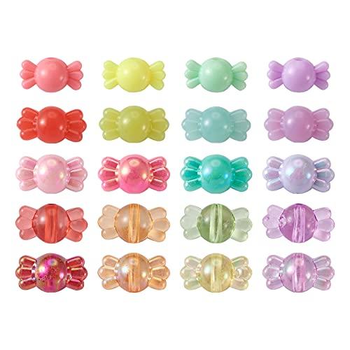 Beadthoven - 600 cuentas acrílicas para dulces mixtas, opacas, transparentes y transparentes para hacer joyas, 5 estilos