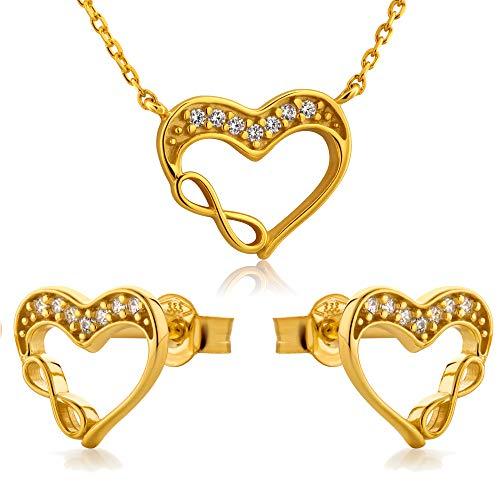 LillyMarie Damen Gold Herz-Anhänger 333 Hals-Kette Farblos Längen-verstellbar Satin-Beutel Geschenkideen für die Frau