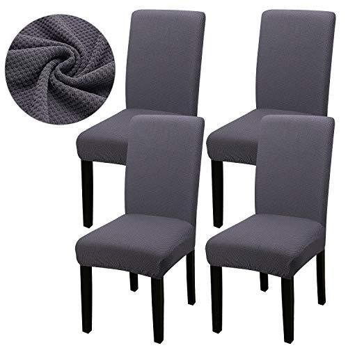 Fuloon Stuhlhusse Stretch Stuhlbezug Spandex Jacquard Handtuch Freischwinger Husse Leicht zu reinigen und langlebig Universal (4 Stück)