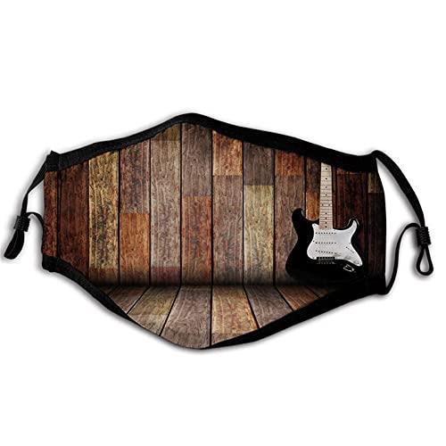 Popstar Party Guitarra eléctrica en la habitación de madera, tema de música...