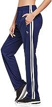 BALEAF Women's Track Pants Athletic Running Sweatpants with Zipper Pockets Sports Jogging Sweat Pants Straight Leg Navy/White Size L