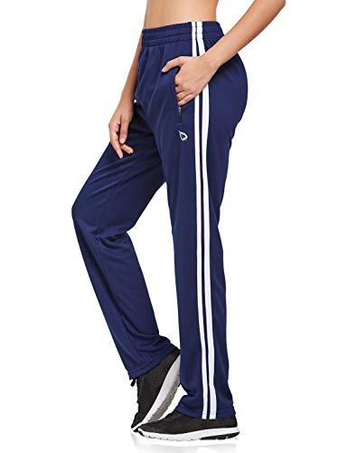 BALEAF Women's Track Pants Sports Athletic Sweatpants with Zipper Pockets Lounge Jogging Sweat Pants Open Leg Navy/White Size L