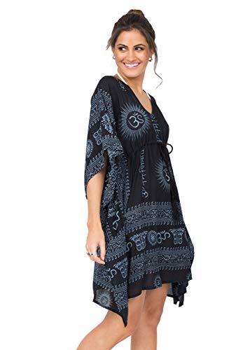 likemary Damen Sommerkleid lang & Tunika Kaftan - V Ausschnitt Kleid & Strandkleid lang im Boho Kleid Style - Strandtunika lang Ohm Schwarz