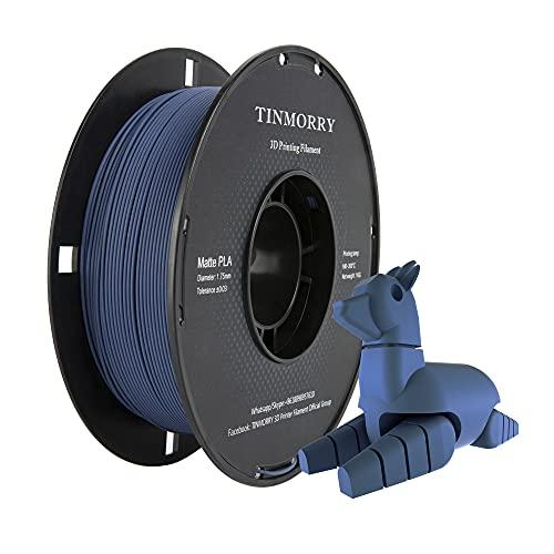 Matte PLA Filament 1.75 mm, TINMORRY 3D Drucker Filament 1 KG 1 Spool, Matte Dark Blue