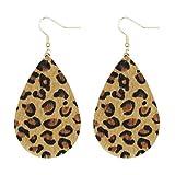 KSQS Leather Fur Teardrop Earrings Leaf Drop Soft and Lightweight Dangle for Women&Girl