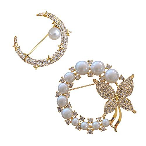 Broches Para Ropa Mujer, Broches de Perlas de Imitación, Broches de Cristal, Joyería con Forma de Mariposa y Luna Para Cumpleaños, Bodas, Graduación (2 piezas)