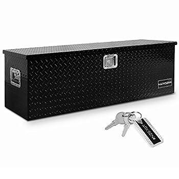 Arksen 49 Inch Aluminum Utility Tool Box Diamond Plate Chest Box Truck Bed Trailer Storage Organizer Black