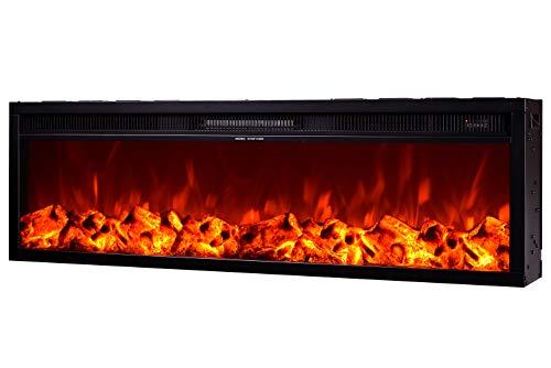 Art Flame Chimenea eléctrica Tanzania para incorporar en la pared o en los armarios con mando a distancia Potencia 1500 W