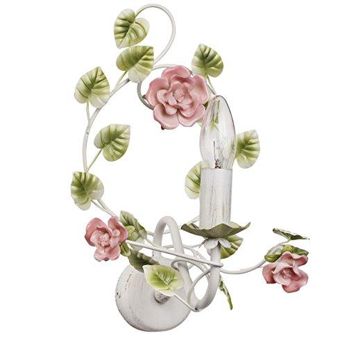 MW-Light 421023901 Kerzen Wandleuchte Florentiner Stil Blume Weiß Rose Grün
