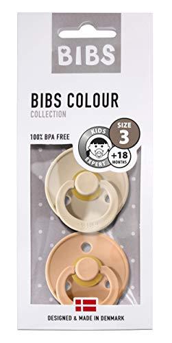 BIBS Colour Chupetes Pack 2 - Sin BPA Caucho Natural - 18+ Meses (Tamaño 3) - Peach/Vanilla