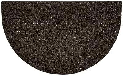 Nicoman Embossed Halfmoon Half Circle Door Mat Dirt-Trapper Jet-Washable Doormat 70x44cm (Brown, Plain) - Use Indoor or Sheltered Outdoor