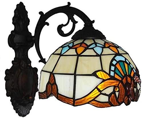 Tiffany Style Vintage Wall Light Sconeque Luz de Pared barroca con vitrales Lámpara Escalera de Hotel Aisle Dormitorio E27 110-240V 8-Pulgada