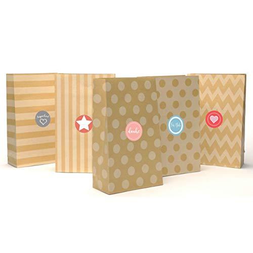 Plantvibes ® 24 geschenkzakjes van hoogwaardig kraftpapier met mooi patroon incl. stickers | vintage papieren zakjes voor adventskalender om zelf te maken voor kinderen | kersttassen | cadeauzakjes