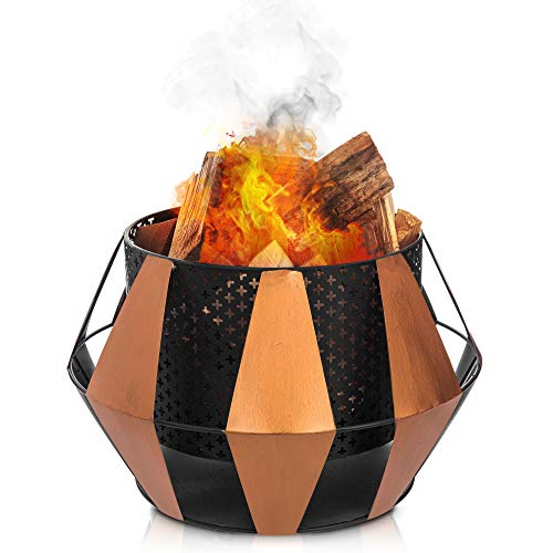 LIVIVO Sunburst Design Fire Pit Brazier with Mesh Inner Walls for Wide Heat Output and Viewing Angle, Rustic Copper Style External Details, Weather and Rust-Resistant Material