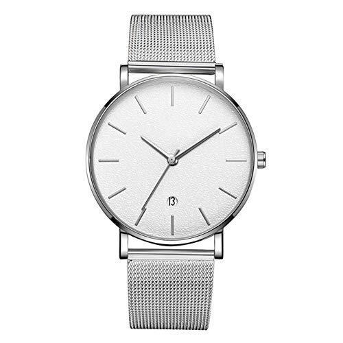 GJHBFUK Reloj Moda Dial Redondo Analógico Reloj De Pulsera De Cuarzo (cinturón De Plata Caja De Plata Espejo Blanco Aguja De Plata)