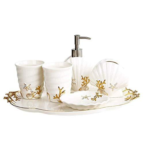 YIXIN2013SHOP Dispensador de jabón premium baño colgante conjunto de inodoro de estilo europeo de cinco piezas de cerámica inodoro lavado bucal taza boda nuevo hogar baño dispensador de jabón