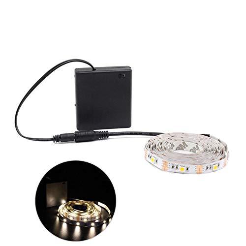 Tira de luces LED RGB con batería SMD 5050 impermeable IR RF mando a distancia 4AA funciona con pilas Fita LED, blanco cálido 5050 IP65, 2,5 m