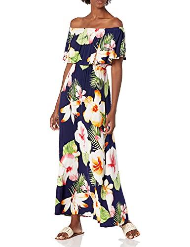 28 Palms Women's Tropical Hawaiian Print Off Shoulder Maxi Dress, Oversize Floral Navy, X-Small
