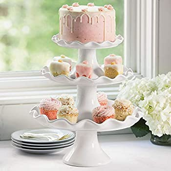 Elegant 3-Piece Ruffled Edge Cake Stand Set - Use as Cupcake Stand Wedding Cake Stand Dessert Stand or as a Stunning Serving Station