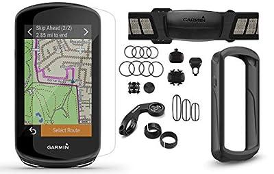 Garmin Edge 1030 Plus GPS Cycling Computer Bundle | Includes Chest HRM, Speed/Cadence Sensors, Black Silicone Case & Tempered Glass Screen Protectors | GPS Bike Computer | Sensors Bundle, 010-02424-01