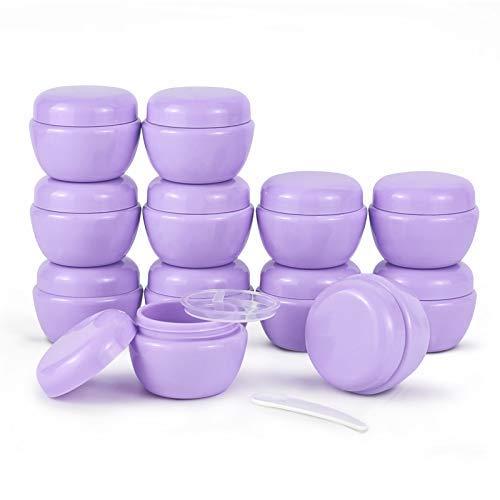 12 frascos de plástico pequeños de 1 oz (30 ml) con Tapas y revestimientos Interiores Recipientes de loción vacíos Recipientes de Crema de Viaje para Exfoliante de azúcar (Morado)