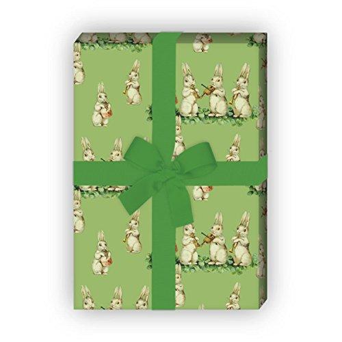 Kartenkaufrausch Süßes Vintage Oster Geschenkpapier Set mit musizierenden Retro Hasen auch zur Geburt, Geburtstag für tolle Geschenk Verpackung, Designpapier, 4 Bogen, 32 x 48cm, grün