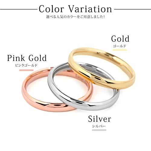 『エスコート サージカルステンレス 316L 各種カラー シンプル 細身 リング サイズ (ピンクゴールド, 4)』の6枚目の画像