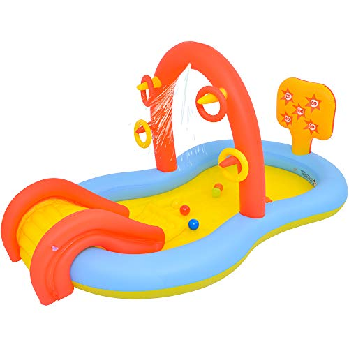 Lunvon Inflatable Swimming Pool for Kids, Jilong Sliding Play Pool, Sprinkler Water Toys, Size 88.5