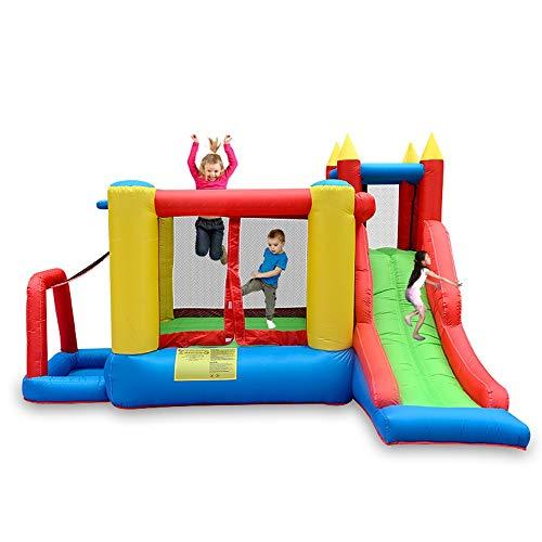 YM963 Inflable de Habitaciones Botar, respetuosa del Medio Ambiente de Nylon y Tela Oxford House y Trampolín de Diapositivas Cuadrícula for niños al Aire Libre, Escalada, del aro de Baloncesto (340 x