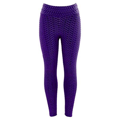 DEELIN Leggings Damen Yoga Fitness Drucken Workout Leggings Fitness Sport Gym Laufen Yoga Sporthose (XL, X3-Lila)