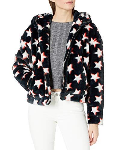 UGG Women's Faux Fur Long Sleeve Hoodie Jacket, Stars RED/Black, S