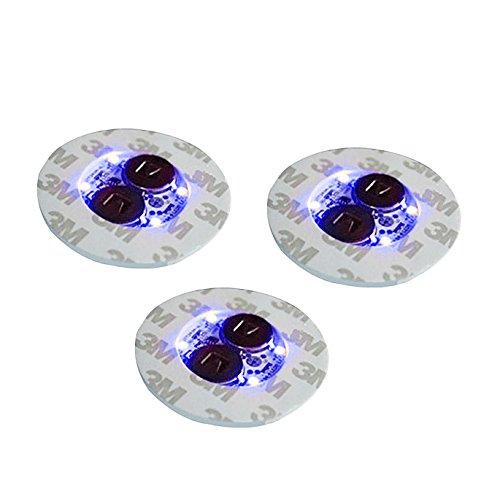 Mini-Untersetzer für Trinkflaschen mit 4 LED-Lichtern, blau, 3 Stück