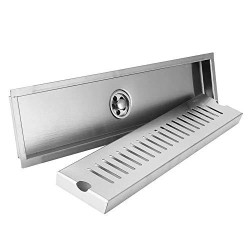 PIJN Bodenablauf Bad Bodenablauf Brushed 304-Edelstahl-Duschablaufabdeckung (Color : Silver, Size : 40x10cm)