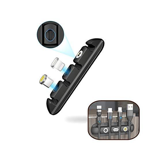 DEVELE Clips para Cables Gestión de Cables Almacenamiento Magnético Del Cabezal Autoadhesivo de Silicona Clips Flexibles para Cables de Escritorio