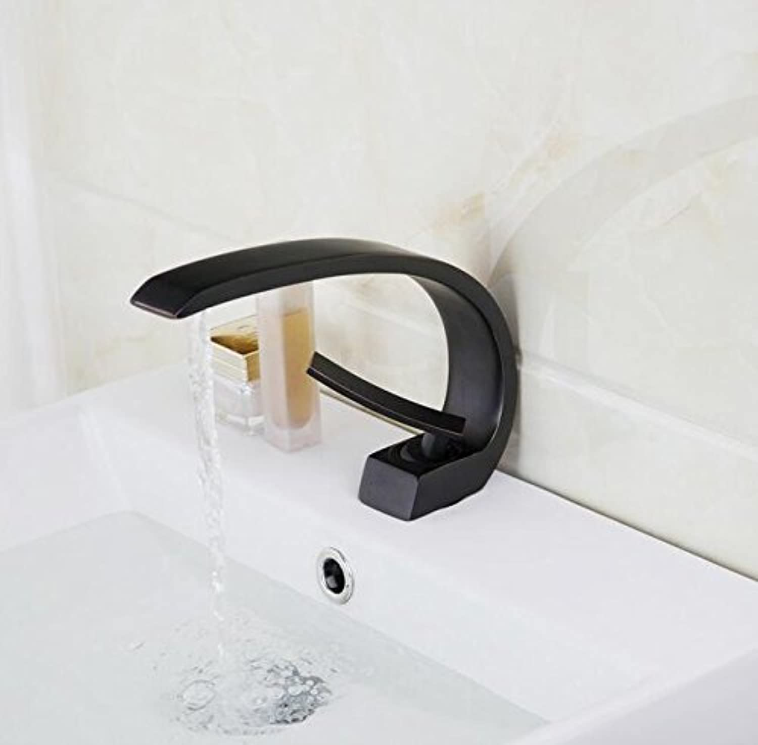 Makej Oil Rubbed Black Bronze Waterfall Bathroom Faucet Deck Mount Wash Basin Special Design Sink Faucets Tap