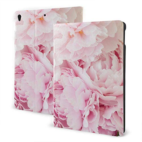 Womens iPad Case 2019 iPad Air3/2017 iPad Pro 10.5 Inch Case/2019 iPad 7th 10.2 Inch Case Pink Flowers Peonies Flowering iPad Waterproof Case Auto Wake/sleep