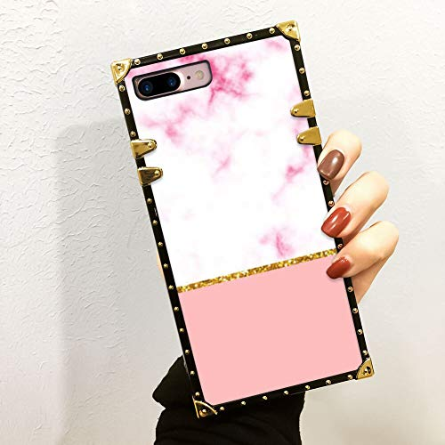 FAUNOW Funda cuadrada de lujo para iPhone 7/8 Plus de TPU suave carcasa de policarbonato duro a la moda de mármol rosa en cuatro esquinas de metal anticaída funda protectora para niñas y mujeres