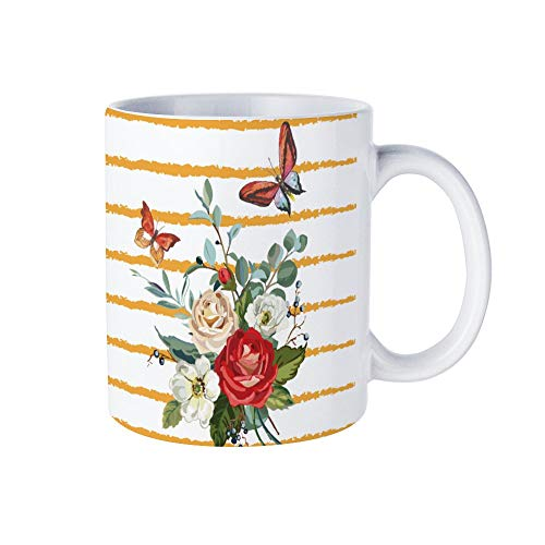 Weiße Kaffeetasse, Granat-Schmetterling, Keramik, Schokoladenbecher für Frauen, Chef, Freund, Mitarbeiter oder Ehepartner