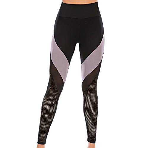 Yoga Hosen Damen Sports Leggings Gym Stretch Hohe Taille Leggins Sporthose Anti-Cellulite Fitnesshose Halb Transparent Laufhose Tights Yogahose für Sport Fitness Workout...