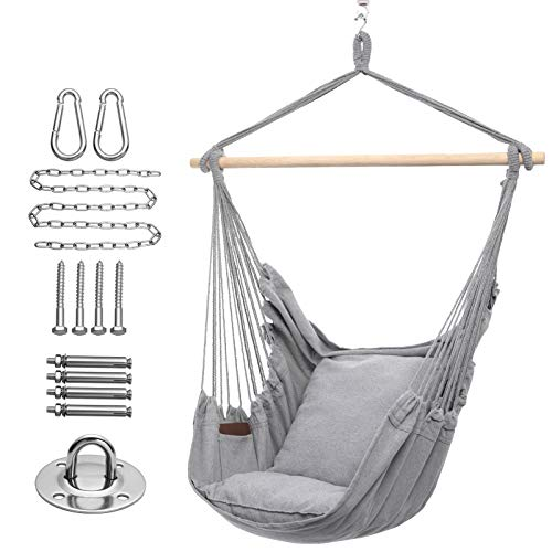 Y- STOP Hammock Chair Hanging Rope Swing, Max 320 Lbs, 2 Seat Cushions Included, Quality Cotton Weave for Superior Comfort, Durability (Light Grey)