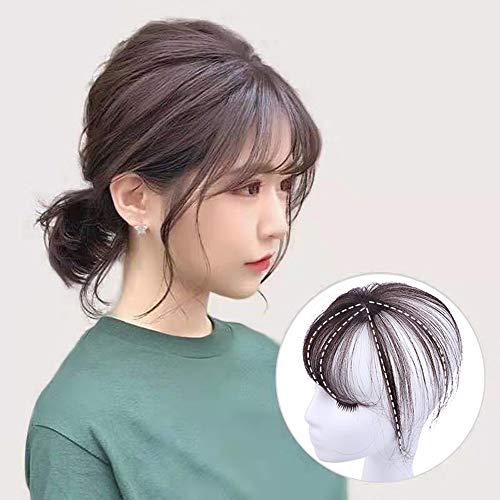 BEST ウィッグ 前髪ウィッグ 人毛 手植え 3D構造つむじ付きシースルーバング つけ毛 エクステ ワンタッチ自然 増毛 サイド付