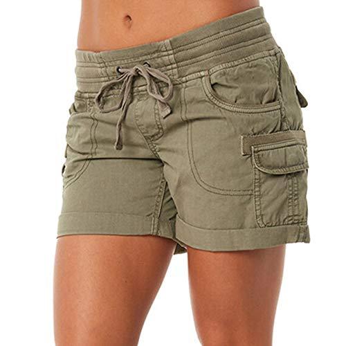 Fainash Pantalones Cortos de Carga para Mujer Color Puro, Simple, cómodo, Cintura elástica, cordón, Tendencia, Todos los Partidos, Moda, Pantalones Cortos Casuales M