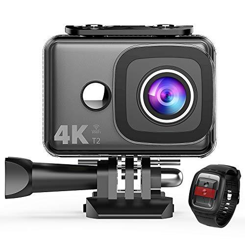 TEC.BEAN - Action camera 4 K WiFi 14 MP ultra HD, impermeabile, fotocamera subacquea 45 m, obiettivo grandangolare 170 gradi e telecomando 2,4 G, batteria ricaricabile e kit di accessori