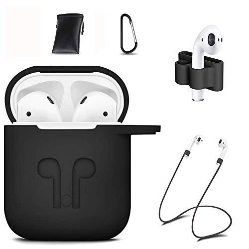 GIM AirPods Case Cover,7 in 1 AirPods Accessories Silicone Airpods Protective Cover Set with Clip Holder/Keychain/Strap/Earhooks/Soft Storage Bag for Apple Airpod (Black)