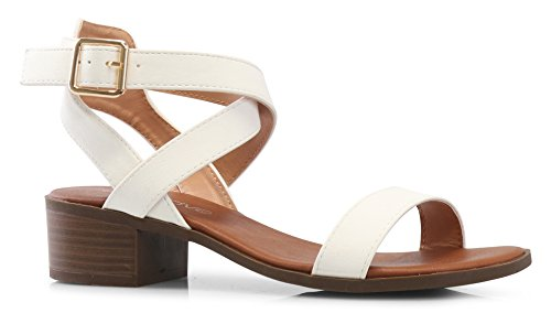 LUSTHAVE Women's Front Strap Ankle Wrap Adjustable Buckle Stacked Chunky Heel Gladiator Summer Dress Sandal White 8.5