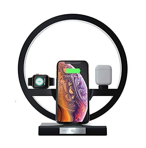 Cargador inalámbrico de 30W con lámpara de Mesa, estación de Carga rápida multifunción Qi Compatible con Apple Watch AirPods iPhone y Samsung Smartphone