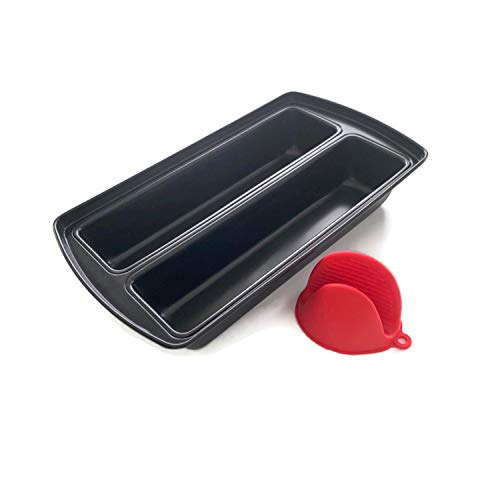 Mwnxia Lasagna Dual Pan Nonstick | Bread Baking Pan | Loaf Tin 15' x 8.5' x 3' Complete with One Silicone Oven Mitt, Divided Bakeware for Cakes, Loaves, Casseroles & Lasagne