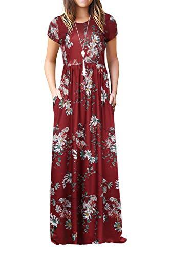 Damen Sommerkleider Kurzarm Lose Blumen Maxikleider Casual Lange Kleider mit Taschen, Burgund, XL